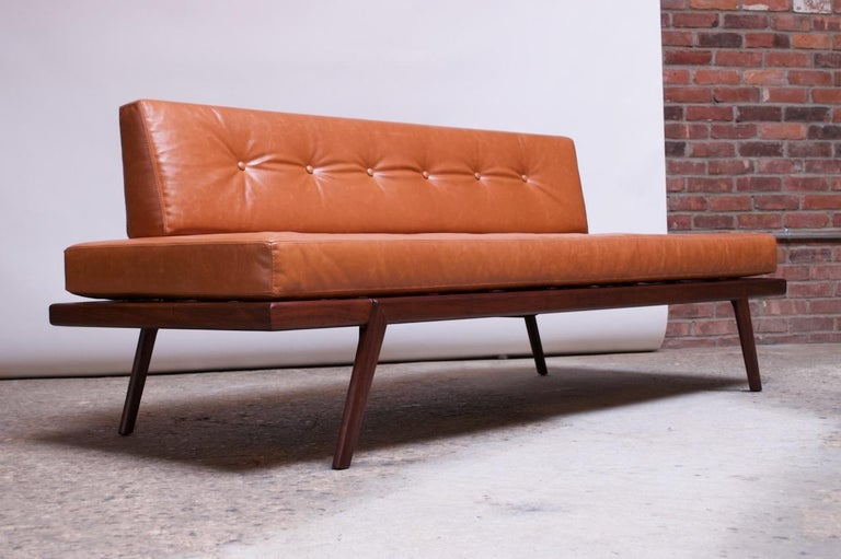 Mid-Century Modern Midcentury Walnut and Leather Daybed / Settee by Mel Smilow