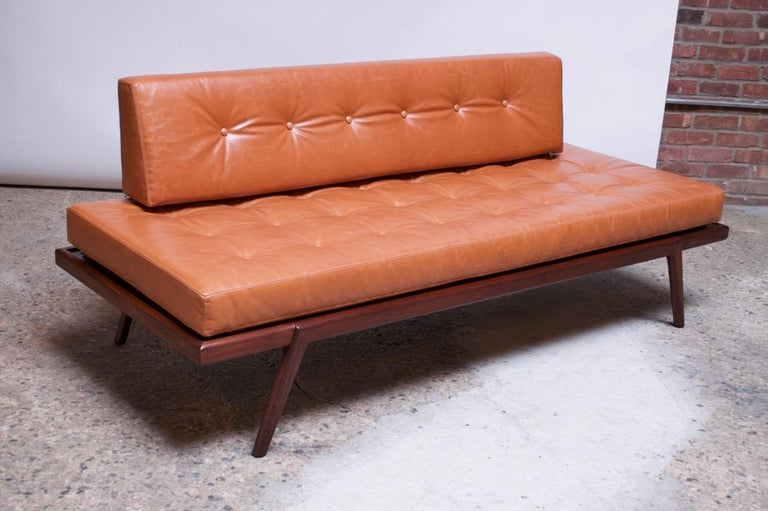 American Midcentury Walnut and Leather Daybed / Settee by Mel Smilow