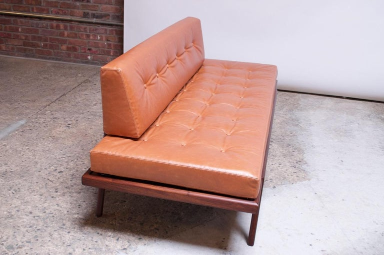 Mid-20th Century Midcentury Walnut and Leather Daybed / Settee by Mel Smilow