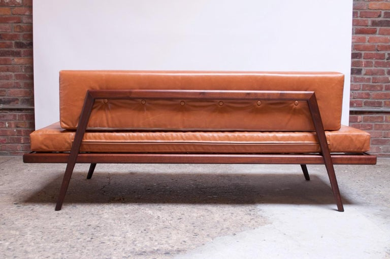 Midcentury Walnut and Leather Daybed / Settee by Mel Smilow 3