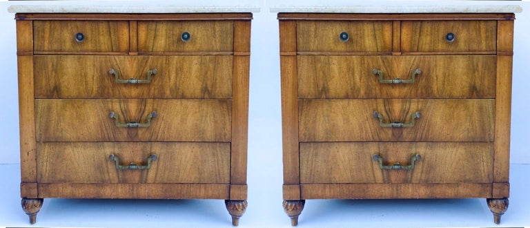 American Mid-Century Walnut and Marble Side Tables / Chests by Widdicomb, Pair