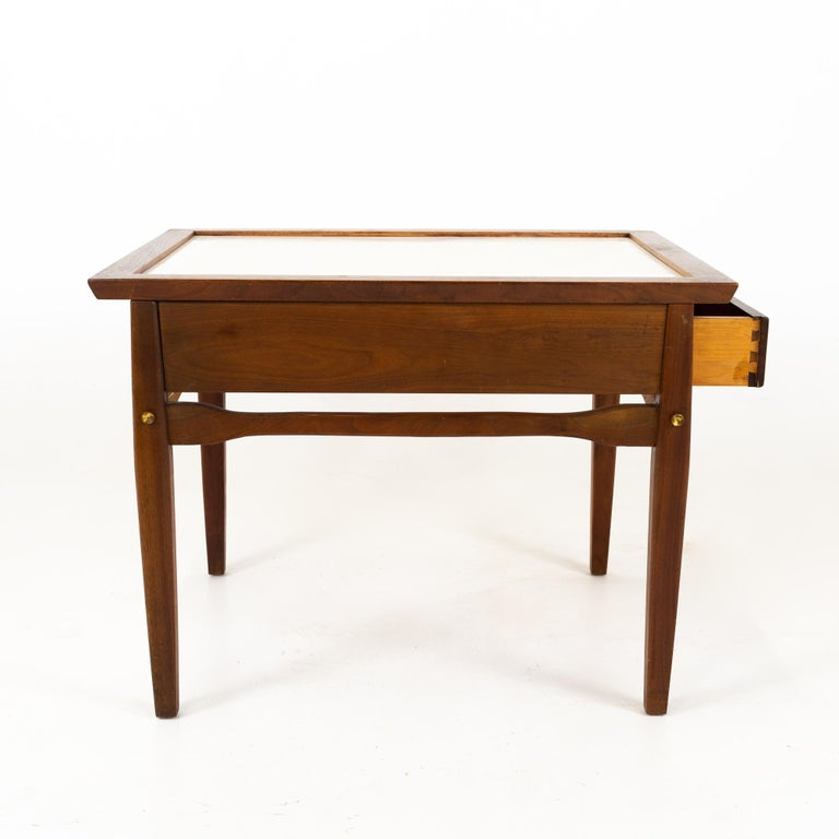 Midcentury Walnut and White Laminate Side End Tables, Pair For Sale 3