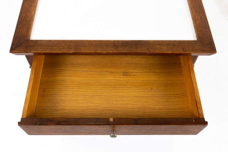 Midcentury Walnut and White Laminate Side End Tables, Pair For Sale 4