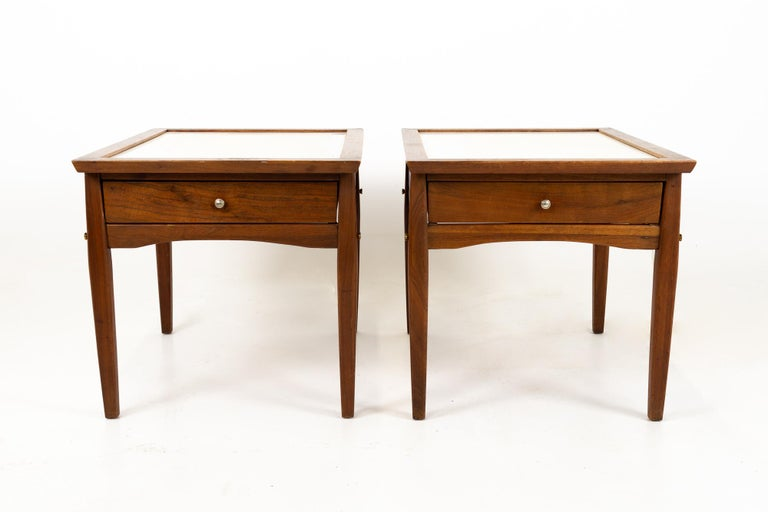 Mid-Century Modern Midcentury Walnut and White Laminate Side End Tables, Pair For Sale