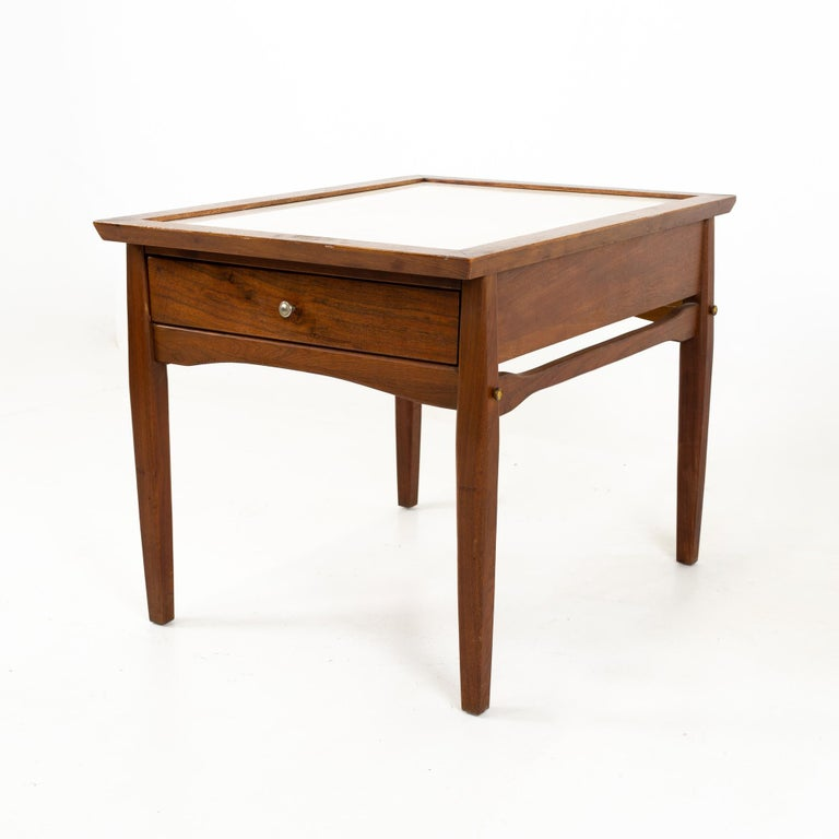 Midcentury Walnut and White Laminate Side End Tables, Pair In Good Condition For Sale In La Grange, IL