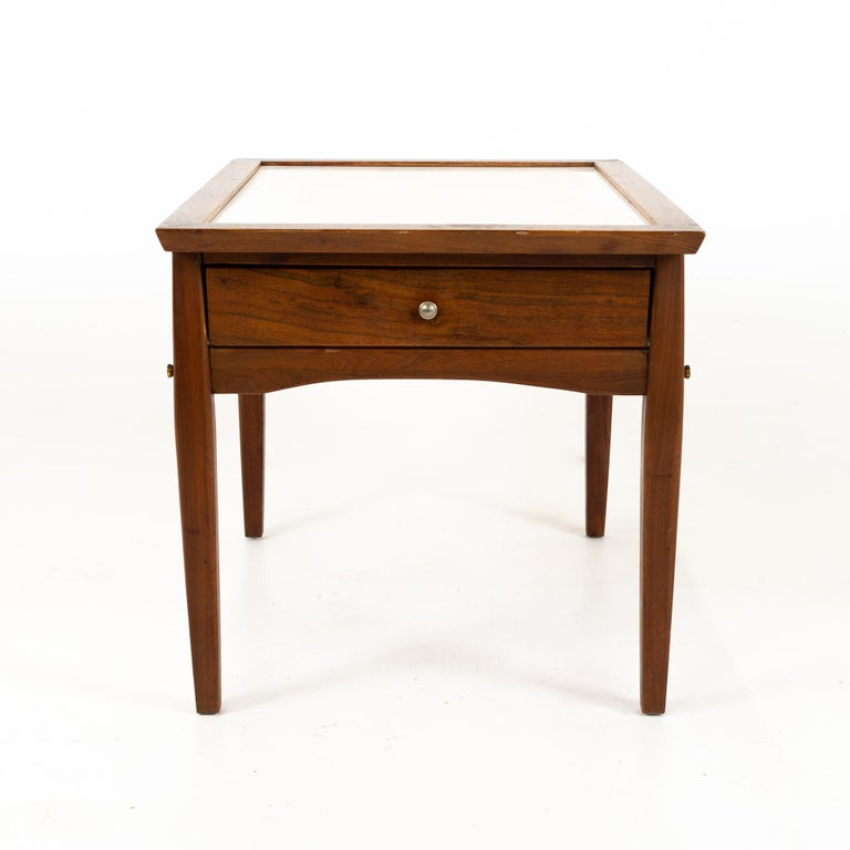 Late 20th Century Midcentury Walnut and White Laminate Side End Tables, Pair For Sale