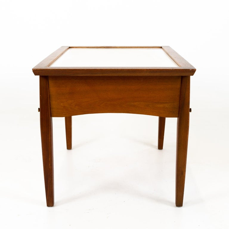 Chrome Midcentury Walnut and White Laminate Side End Tables, Pair For Sale