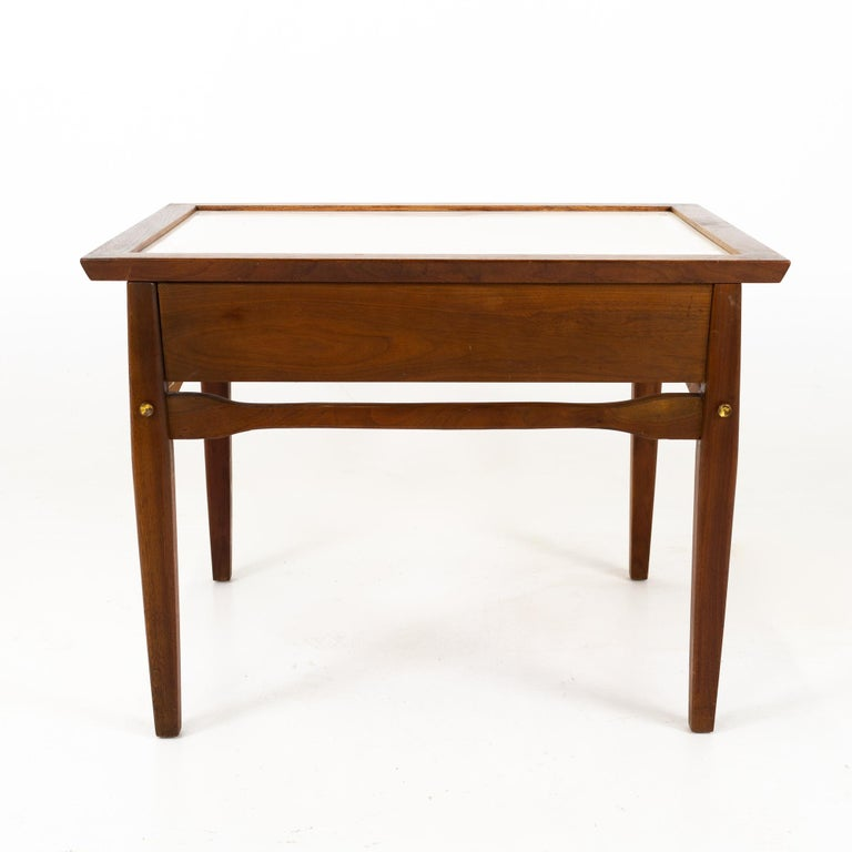 Midcentury Walnut and White Laminate Side End Tables, Pair For Sale 1