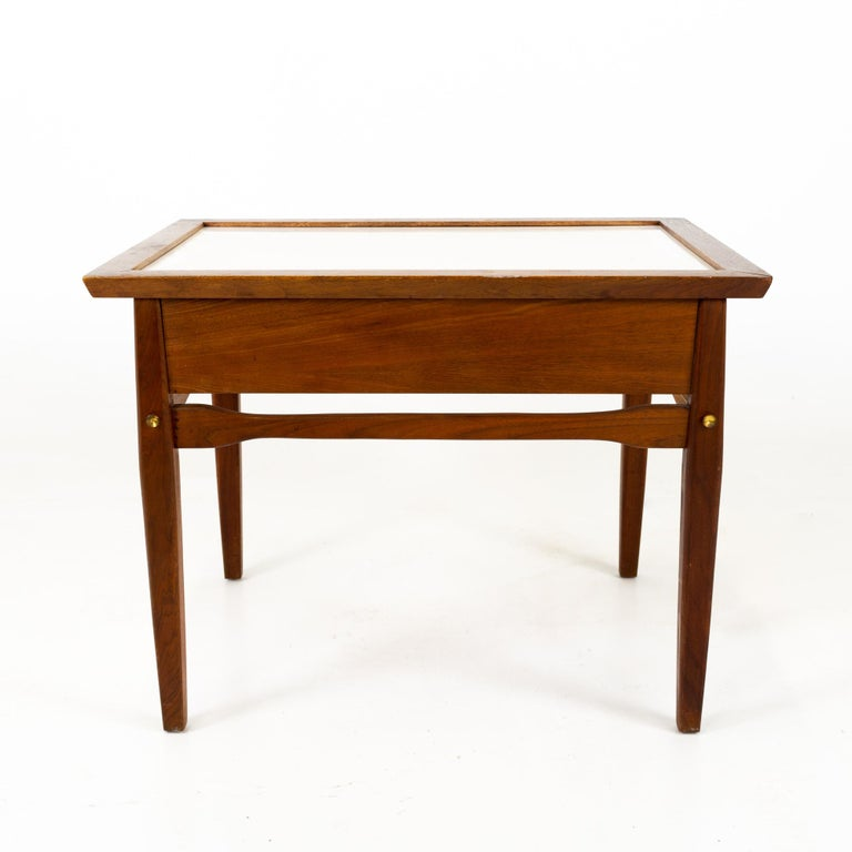 Midcentury Walnut and White Laminate Side End Tables, Pair For Sale 2