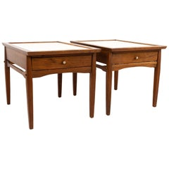 Midcentury Walnut and White Laminate Side End Tables, Pair