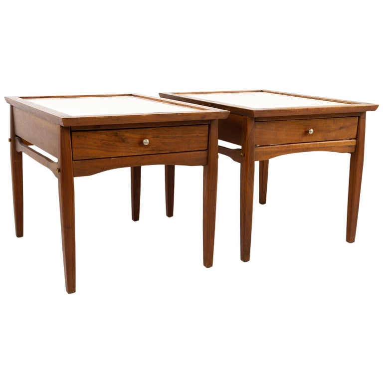 Midcentury Walnut and White Laminate Side End Tables, Pair For Sale