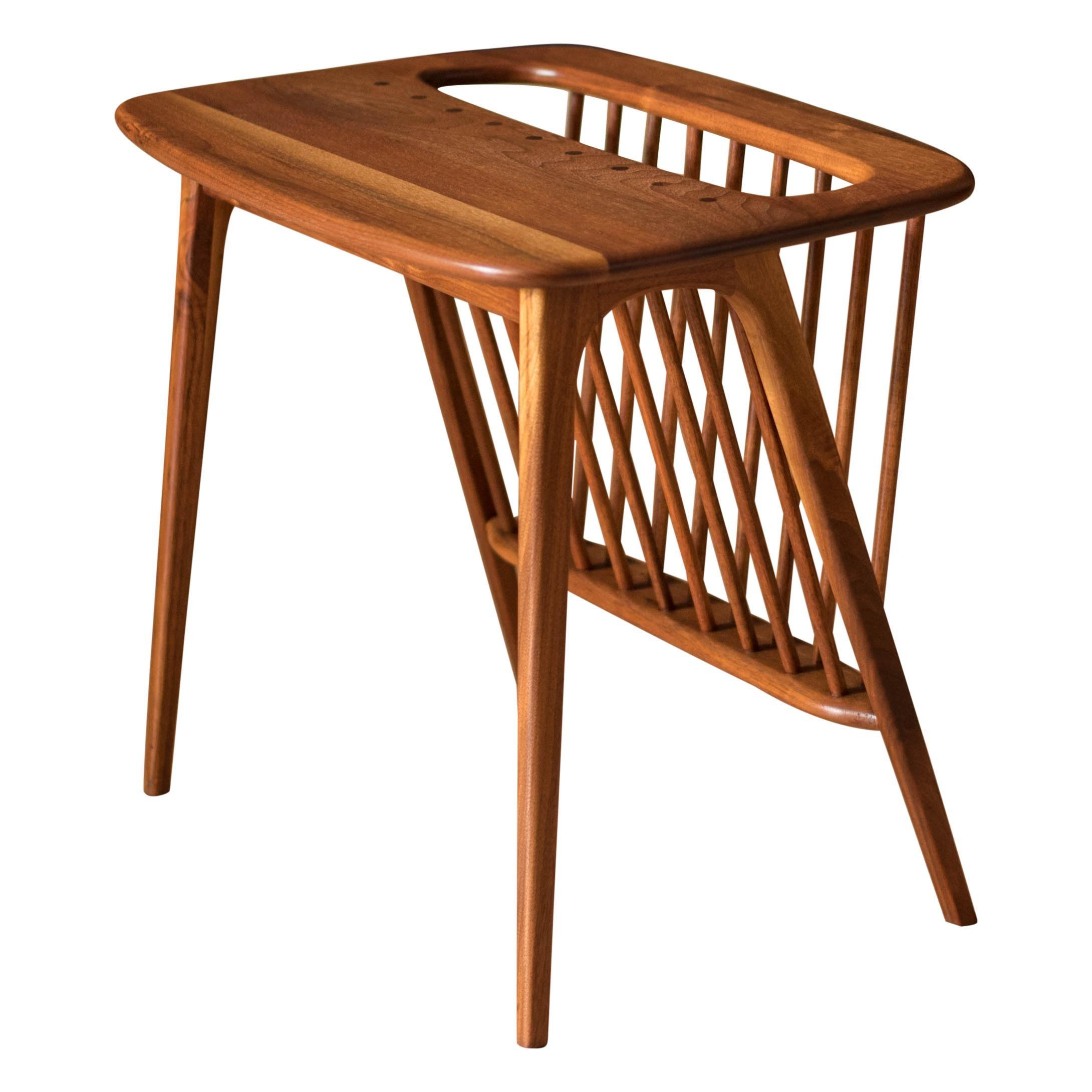Mid Century Walnut Arthur Umanoff Magazine Rack End Table