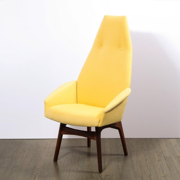 Mid Century Walnut Back Chair in Yellow Loro Piana Cashmere by Adrian Pearsall For Sale 3