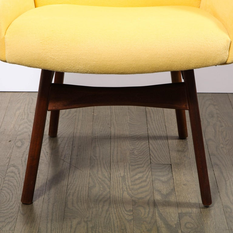 Mid-Century Modern Mid Century Walnut Back Chair in Yellow Loro Piana Cashmere by Adrian Pearsall For Sale