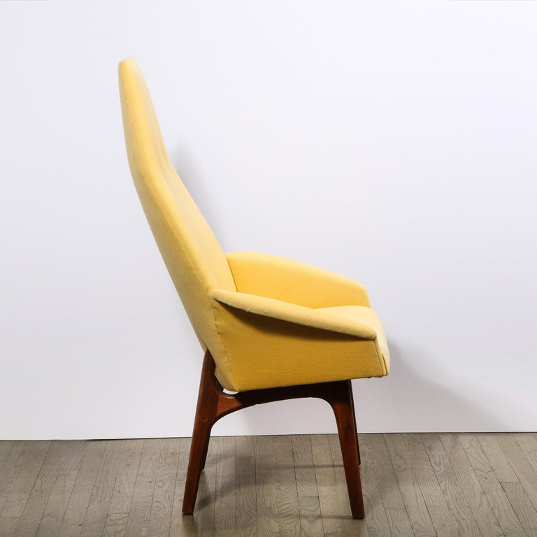 American Mid Century Walnut Back Chair in Yellow Loro Piana Cashmere by Adrian Pearsall For Sale