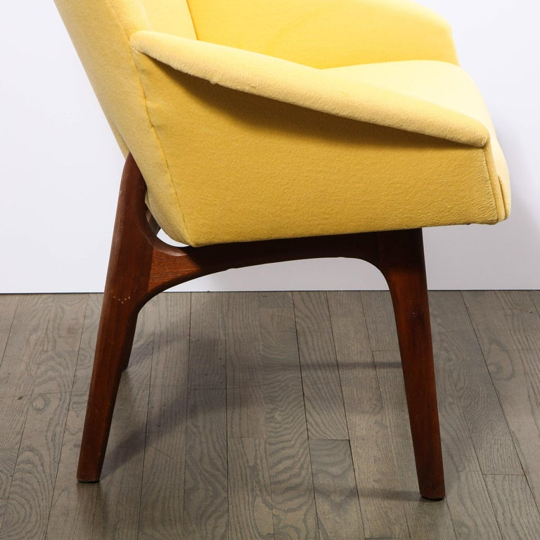 Mid Century Walnut Back Chair in Yellow Loro Piana Cashmere by Adrian Pearsall In Excellent Condition For Sale In New York, NY