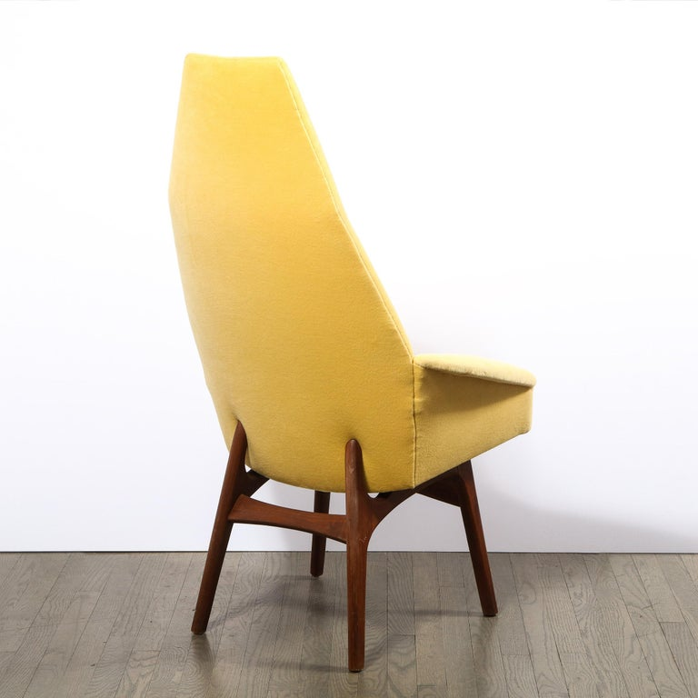Late 20th Century Mid Century Walnut Back Chair in Yellow Loro Piana Cashmere by Adrian Pearsall For Sale