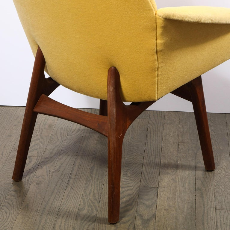 Upholstery Mid Century Walnut Back Chair in Yellow Loro Piana Cashmere by Adrian Pearsall For Sale