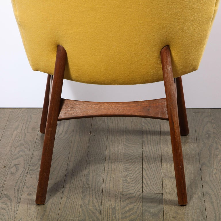 Mid Century Walnut Back Chair in Yellow Loro Piana Cashmere by Adrian Pearsall For Sale 2