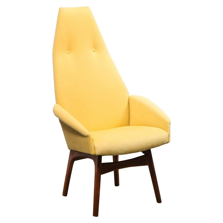 Mid Century Walnut Back Chair in Yellow Loro Piana Cashmere by Adrian Pearsall For Sale