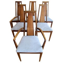 Mid Century Walnut Cane Back Dining Chairs American of Martinsville