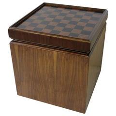 Mid Century Walnut Chess Board Record Storage Stool by Lane
