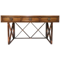 Midcentury Walnut Console or Writing Table with X-Form Bronzed Base, circa 1970s