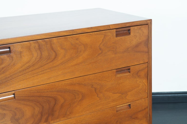 Metal Midcentury Walnut Credenza by American of Martinsville For Sale