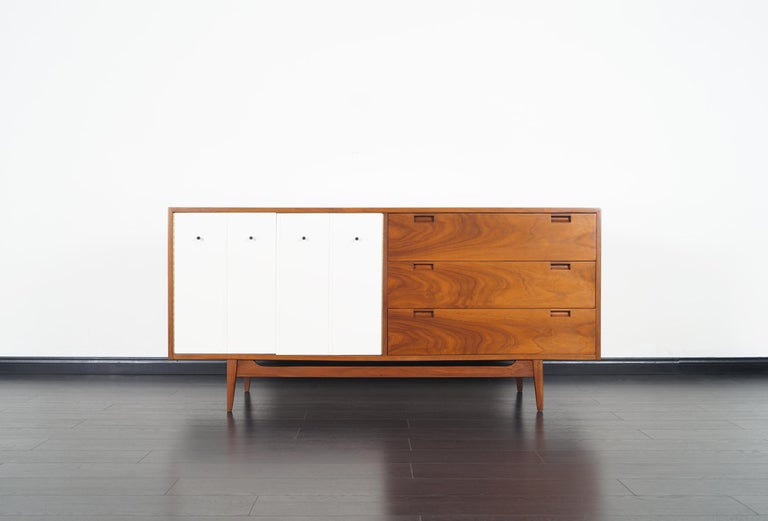 Midcentury Walnut Credenza by American of Martinsville For Sale 1