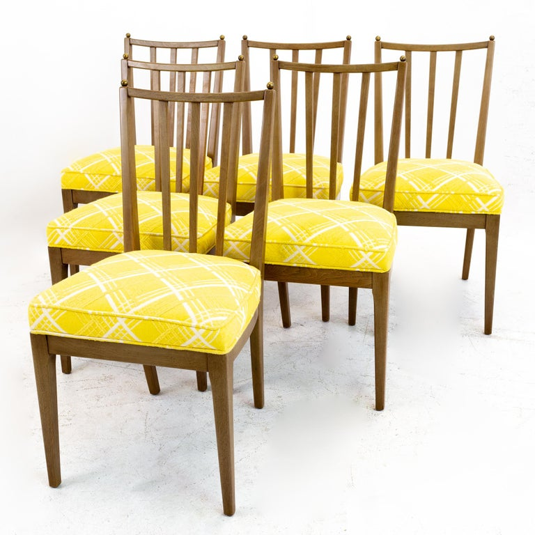 Mid century walnut dining chairs - set of 6. These chairs are 18.75 wide x 20 deep x 34.5 inches high, with a seat height of 19.5 inches  All pieces of furniture can be had in what we call restored vintage condition. That means the piece is