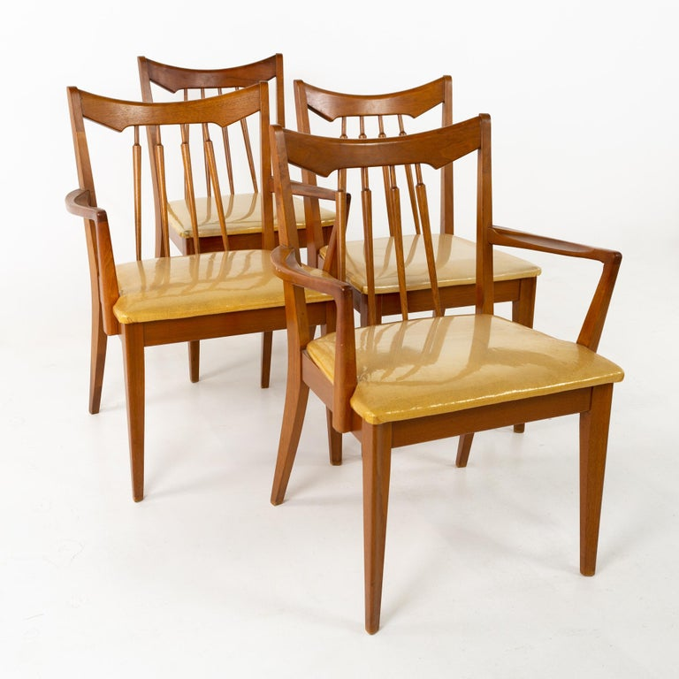 American Mid Century Walnut Dining Chairs - Set of 6 For Sale