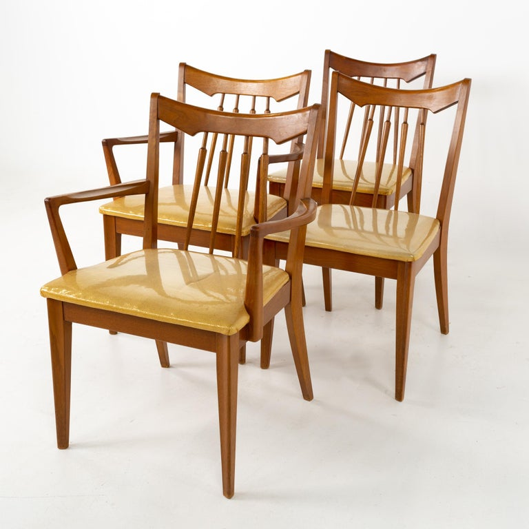 Mid Century Walnut Dining Chairs - Set of 6 In Good Condition For Sale In La Grange, IL