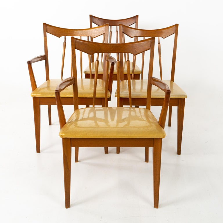 Late 20th Century Mid Century Walnut Dining Chairs - Set of 6 For Sale