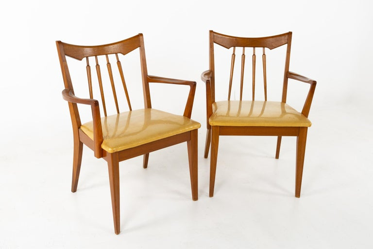 Upholstery Mid Century Walnut Dining Chairs - Set of 6 For Sale