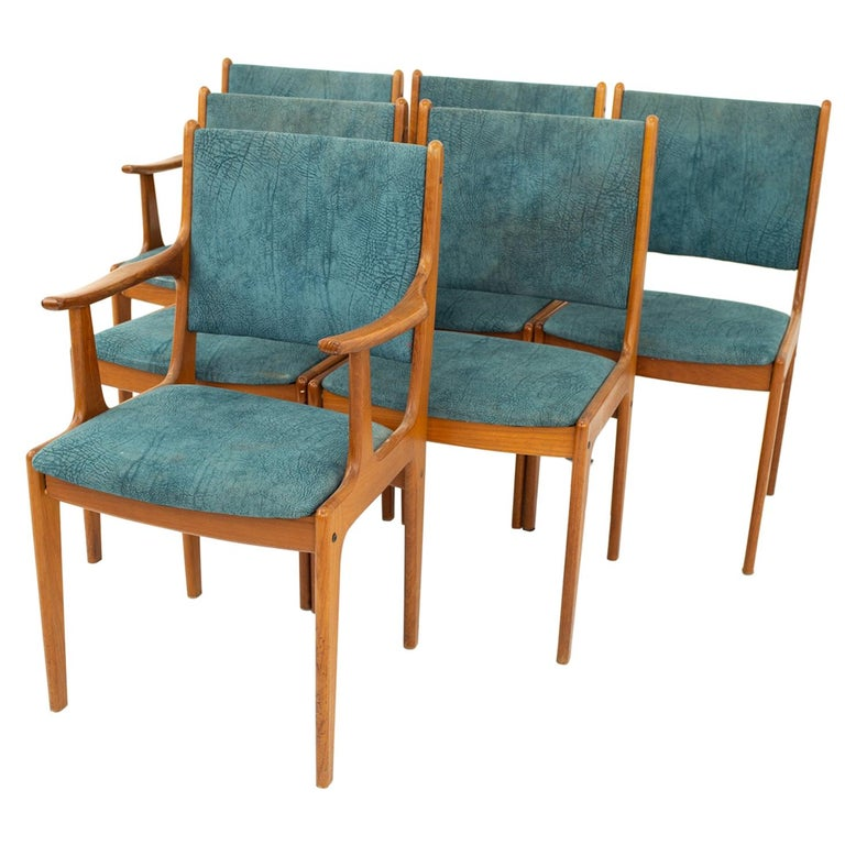 Mid Century Teak Dining Chairs, Set of 6 For Sale