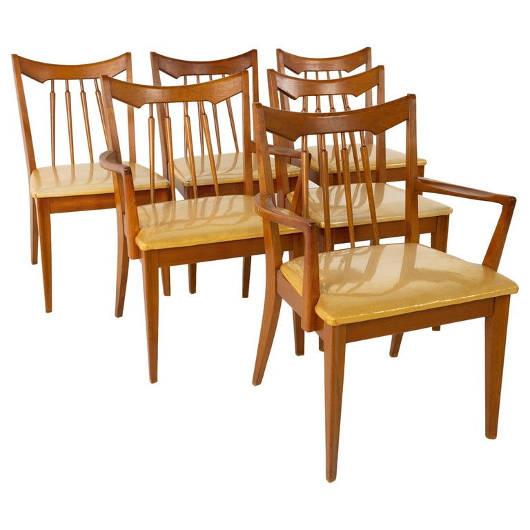 Mid Century Walnut Dining Chairs - Set of 6 For Sale