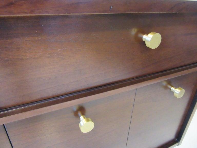 Midcentury Walnut Dresser / Chest with Brass Pulls 3