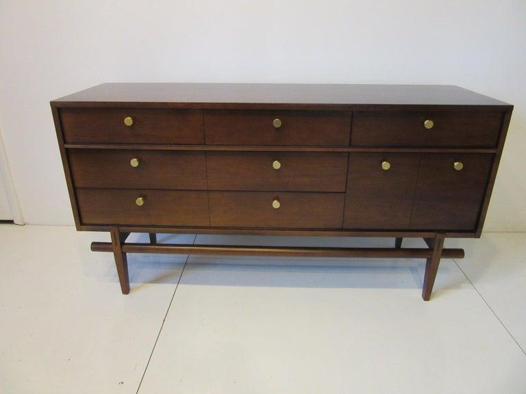 Midcentury Walnut Dresser / Chest with Brass Pulls 4