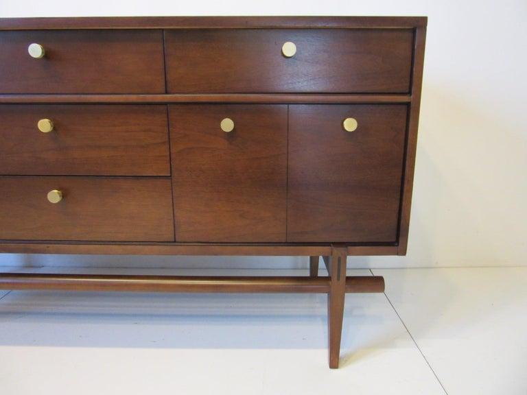 American Midcentury Walnut Dresser / Chest with Brass Pulls