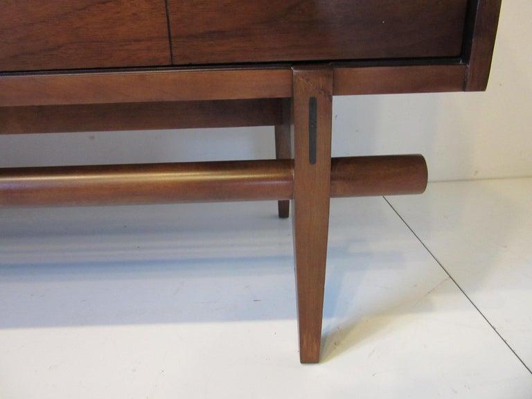 Midcentury Walnut Dresser / Chest with Brass Pulls In Good Condition In Cincinnati, OH