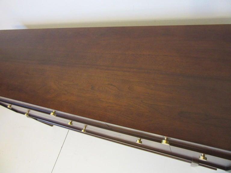 20th Century Midcentury Walnut Dresser / Chest with Brass Pulls