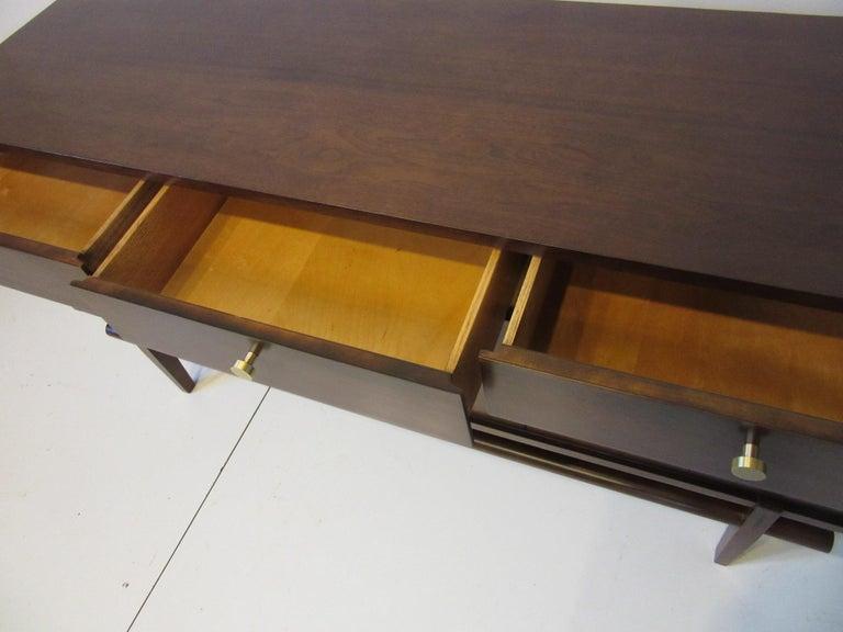 Bentwood Midcentury Walnut Dresser / Chest with Brass Pulls