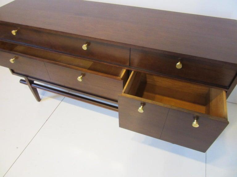 Midcentury Walnut Dresser / Chest with Brass Pulls 1