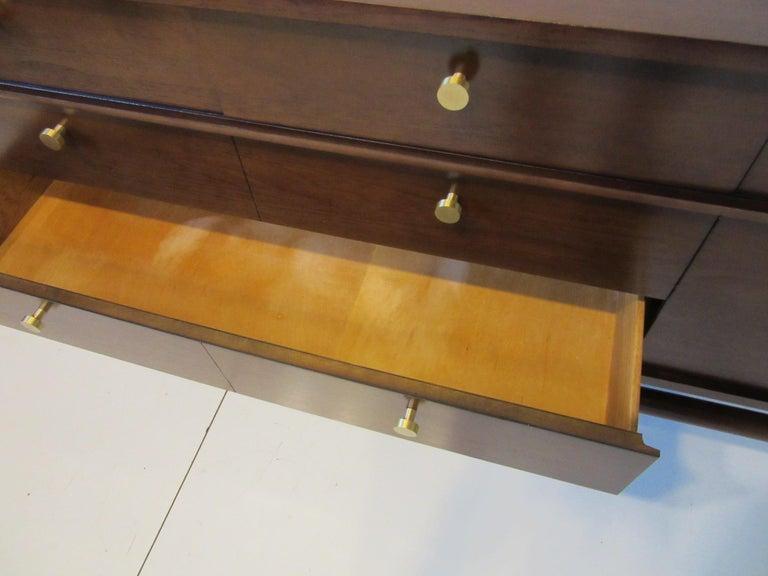 Midcentury Walnut Dresser / Chest with Brass Pulls 2
