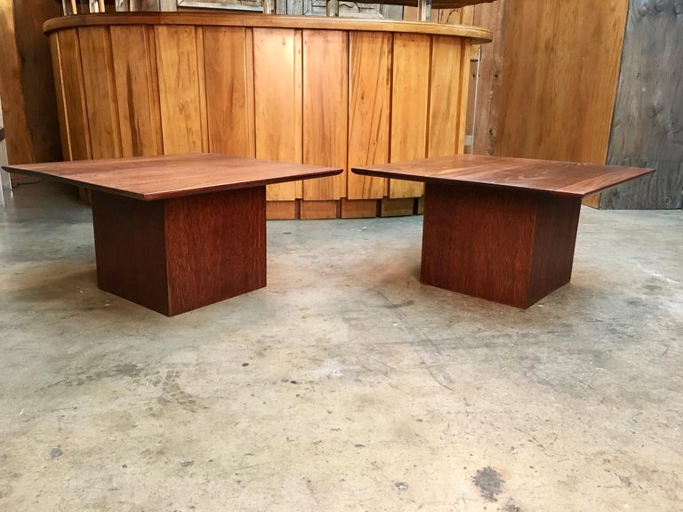 California Modern solid walnut beveled top side tables in the style of John Keal.