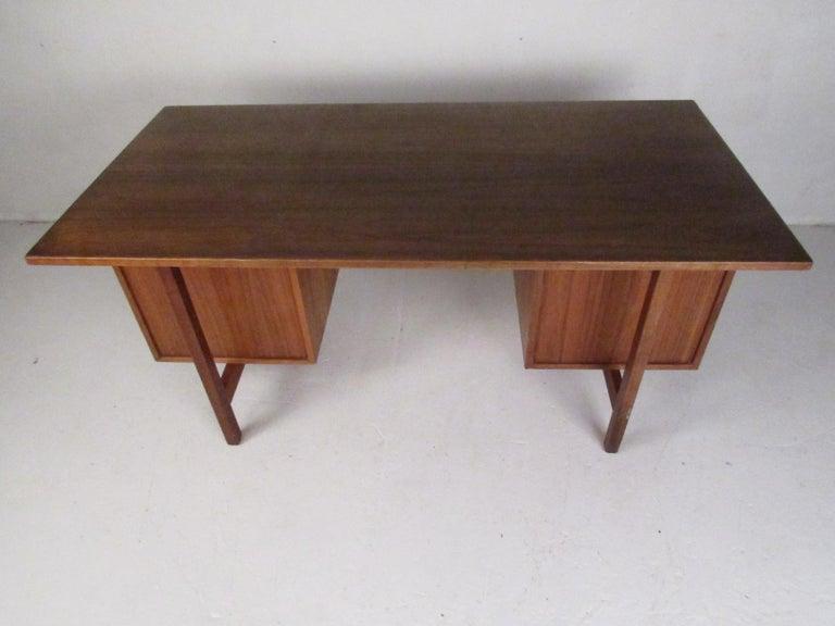 Mid-Century Modern Midcentury Walnut Floating Top Desk For Sale