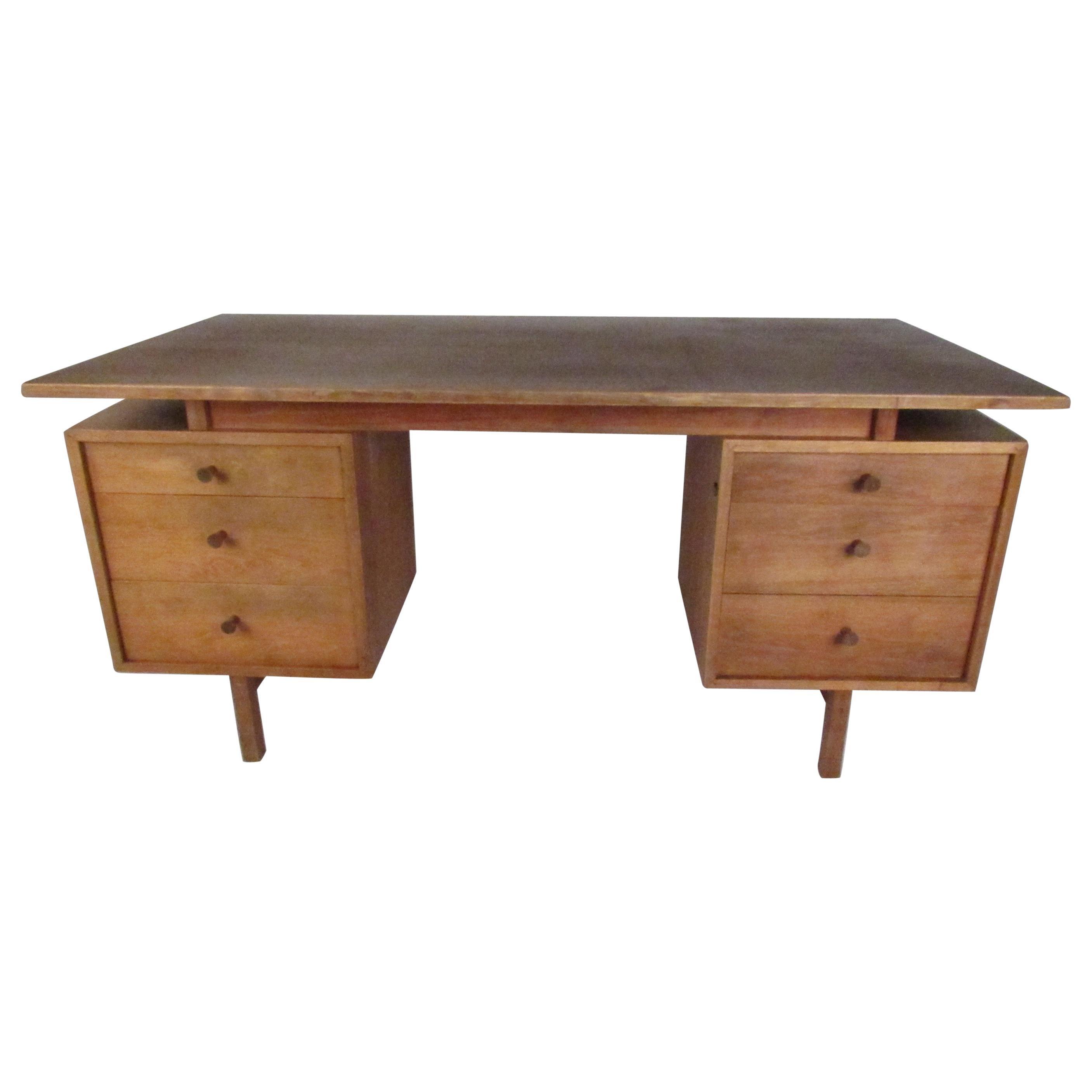 Midcentury Walnut Floating Top Desk