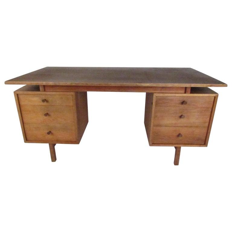 Midcentury Walnut Floating Top Desk For Sale