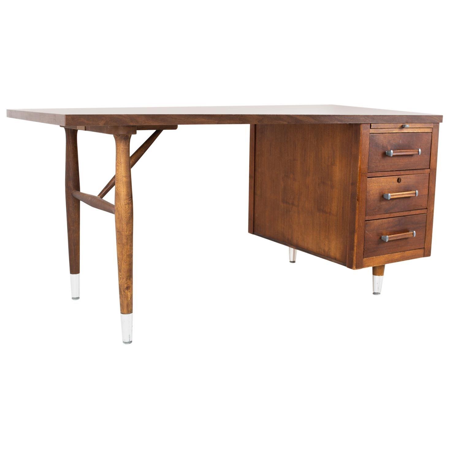 Mid Century Walnut Formica Top Desk
