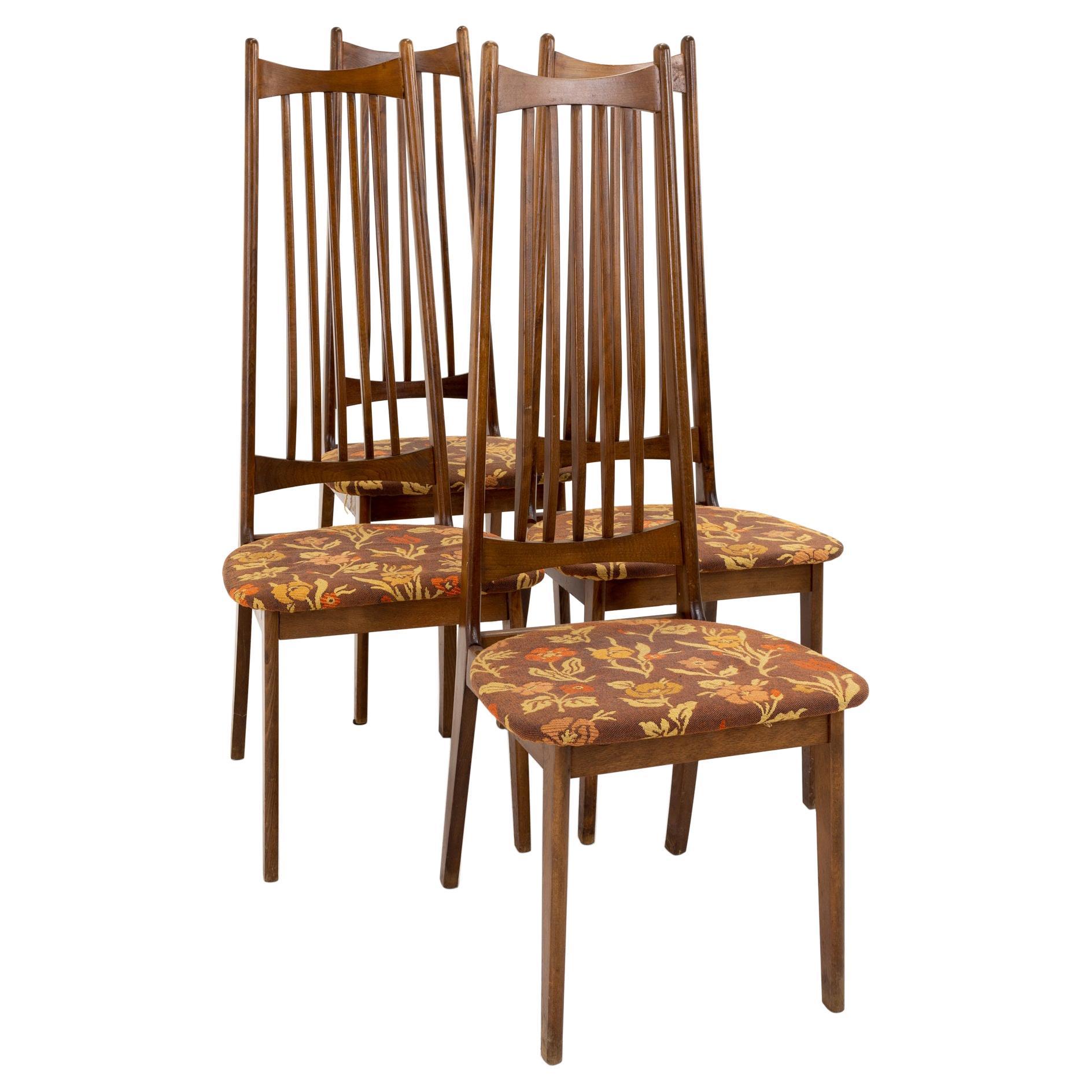 Mid Century Walnut Highback Dining Chairs, Set of 4
